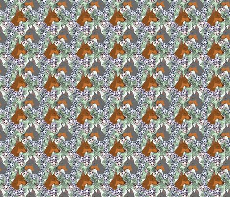 Floral German Pinscher portraits B - small fabric by rusticcorgi on Spoonflower - custom fabric