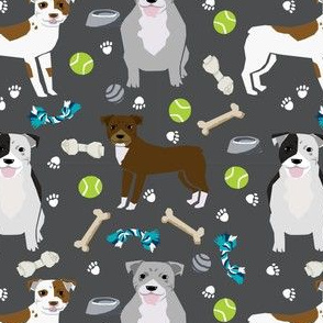 pitbull dog fabric dogs and dog toys design pitbulls fabric - charcoal