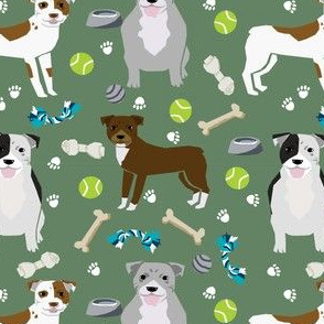 pitbull dog fabric dogs and dog toys design pitbulls fabric - med. green