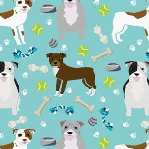 pitbull dog fabric dogs and dog toys design pitbulls fabric - light blue