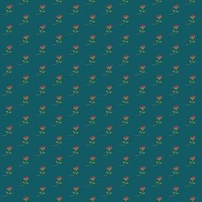 teeny tiny protea - teal