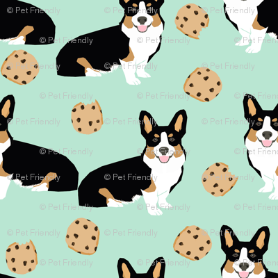 tricolored  corgi dog fabric dogs and cookies design - mint