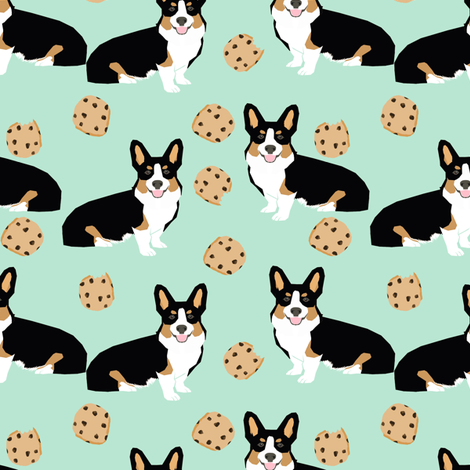 tricolored  corgi dog fabric dogs and cookies design - mint fabric by petfriendly on Spoonflower - custom fabric