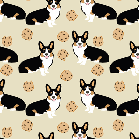 tricolored  corgi dog fabric dogs and cookies design - neutral fabric by petfriendly on Spoonflower - custom fabric