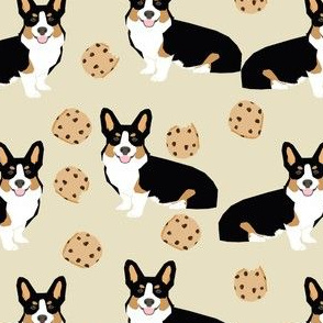 tricolored  corgi dog fabric dogs and cookies design - neutral