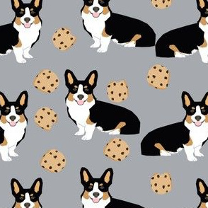 tricolored  corgi dog fabric dogs and cookies design -grey
