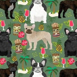 french bulldog tiki fabric summer islands tropical fabric - green