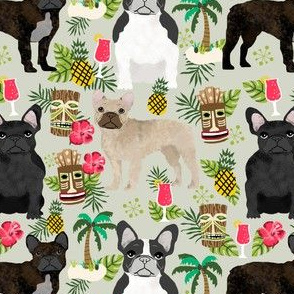 french bulldog tiki fabric summer islands tropical fabric - sand