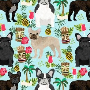 french bulldog tiki fabric summer islands tropical fabric - light blue