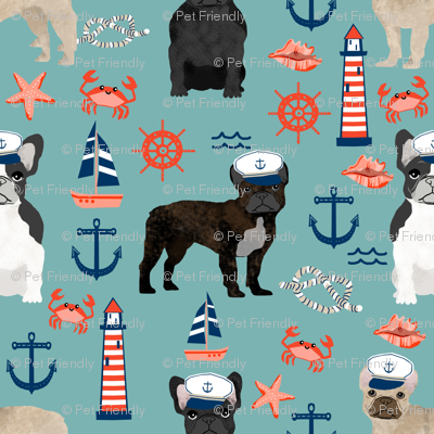 french bulldog nautical fabric summer nantucket anchors design - gulf blue