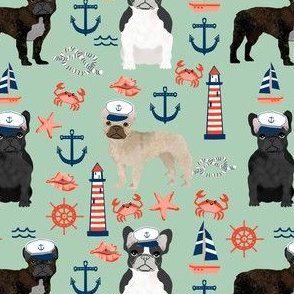 french bulldog nautical fabric summer nantucket anchors design - mint