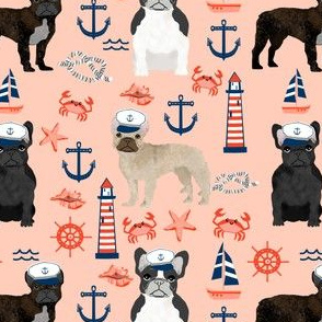 french bulldog nautical fabric summer nantucket anchors design - blush