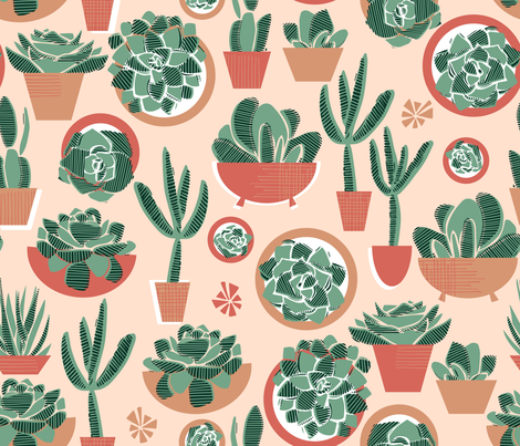 Succulents in Pots Limited Palette Small fabric by tiffanyheiger on Spoonflower - custom fabric