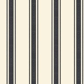 Modern Ticking Stripe-Black-charcoal/off white -Med