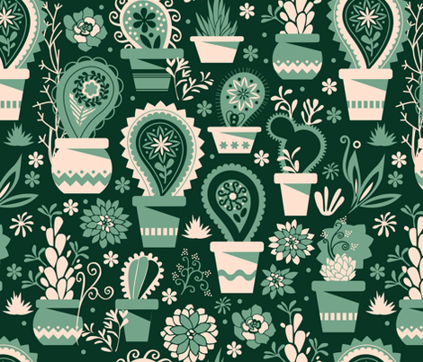 Paisley succulents fabric by camcreative on Spoonflower - custom fabric