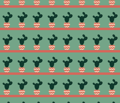 Prickly Pear Cactus Stripes fabric by creative_madame on Spoonflower - custom fabric