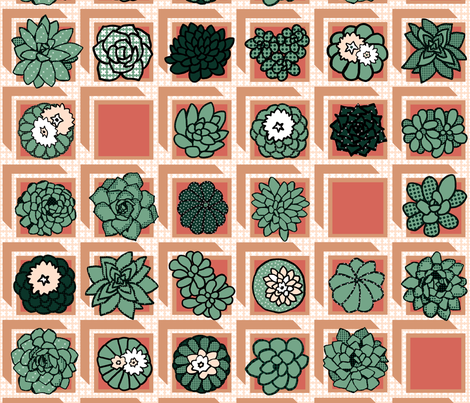 square-pot succulents fabric by clothcraft on Spoonflower - custom fabric