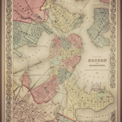 Boston vintage map, very large