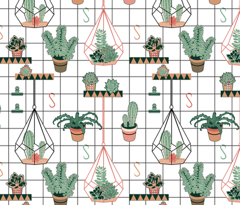 Modern Succulents fabric by vannina on Spoonflower - custom fabric