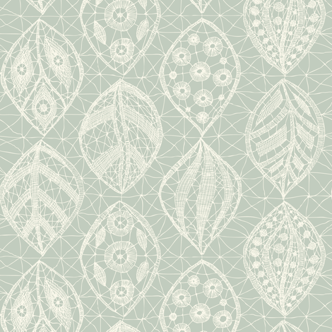 Lace Leaves - Ivory, Seaspray fabric by fernlesliestudio on Spoonflower - custom fabric