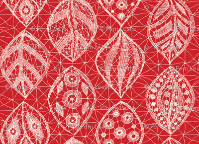 Lace Leaves - Ivory, Red