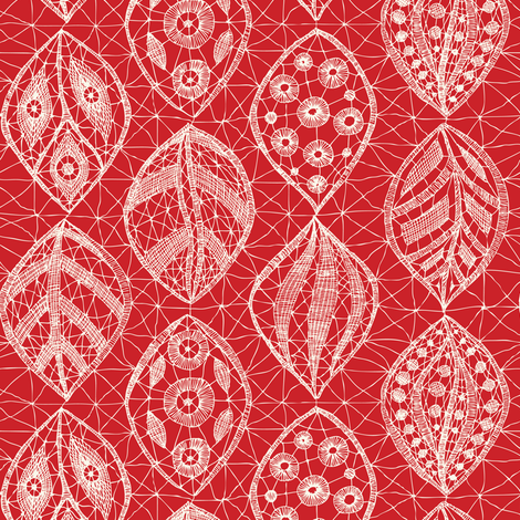 Lace Leaves - Ivory, Red fabric by fernlesliestudio on Spoonflower - custom fabric