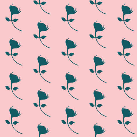 single protea - pink/teal - med scale fabric by ali*b on Spoonflower - custom fabric