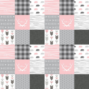 "3"" Squares - Woodland Bears in pink, grey and white - Wholecloth Q"