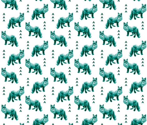 Fox and Arrows - Teal Satura fabric by sugarpinedesign on Spoonflower - custom fabric