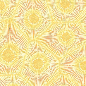coral pattern in pastel yellow-orange