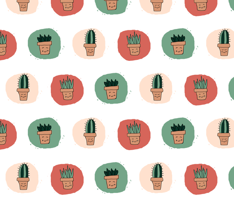 Succulent Polka Dots Multi fabric by spottedfox on Spoonflower - custom fabric