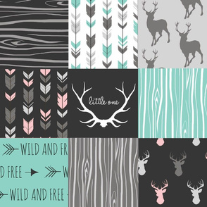 Patchwork Deer - Dark Mint with a Touch of Pink