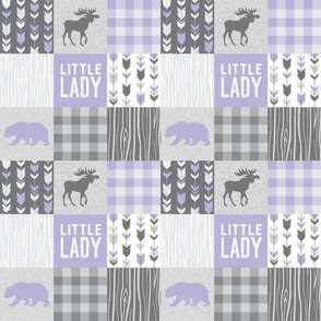 "3"" Little Lady Patchwork- lilac and grey"