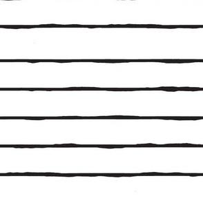 white and black hand drawn stripe - horizontal