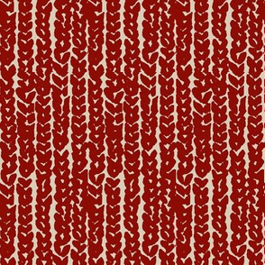 chunky knit in red on tan-vertical