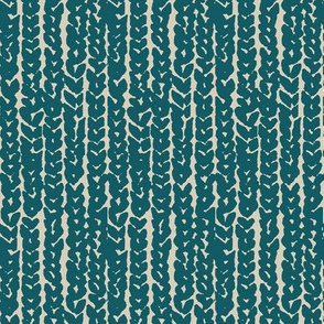 chunky knit - teal blue on tan-vertical