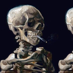 skulls skeletons smoking smoke cigarettes death morbid spooky anatomy anatomical studies eerie macabre bizarre