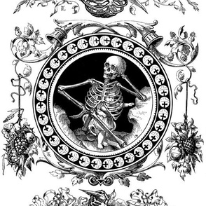 skeletons skulls rib cages floral flowers leaves children toddler kids child horn of plenty crosses crucifixes royal orb birds fruits bows death black white monochrome gothic victorian spooky horror macabre bizarre