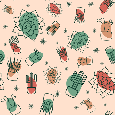 Retro Succulents fabric by k_rog on Spoonflower - custom fabric