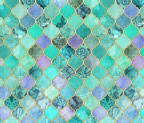 Pale Mint & Lilac Decorative Moroccan Tiles with Gold Edges fabric by micklyn on Spoonflower - custom fabric