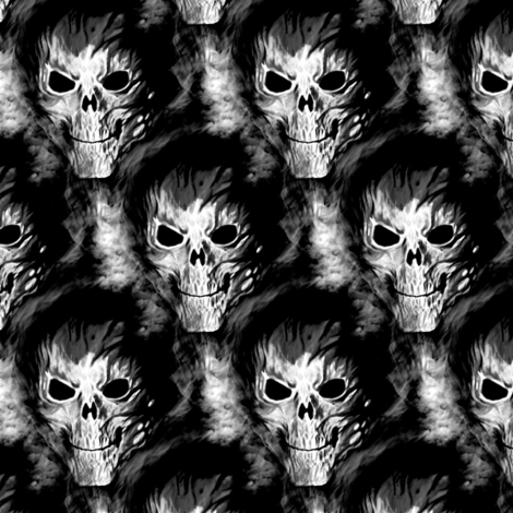 skull in black fabric by stofftoy on Spoonflower - custom fabric