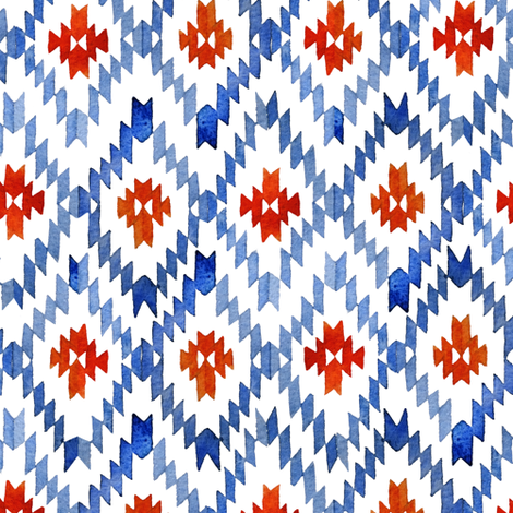 Blue-red ikat rhombus fabric by tasiania on Spoonflower - custom fabric