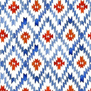 Blue-red ikat rhombus