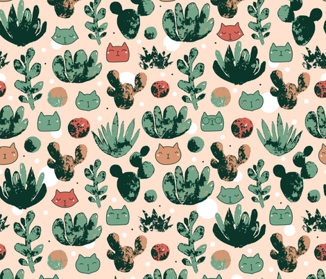 Succulents_trace_pattern fabric by kostolom3000 on Spoonflower - custom fabric
