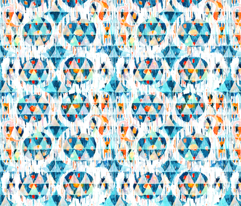 Blue vibrant ikat fabric by tasiania on Spoonflower - custom fabric