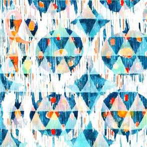 Blue vibrant ikat