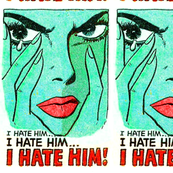 pop art comics woman lady vintage retro kitsch comic strips comic books modern words crying upset angry i hate him  roy lichtenstein inspired tears