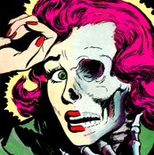 pop art comics woman lady vintage retro kitsch roy lichtenstein inspired comic strips comic books modern skulls skeletons tales from the crypt horror bizarre morbid macabre spooky eerie horrifying Halloween monsters frightened frightening