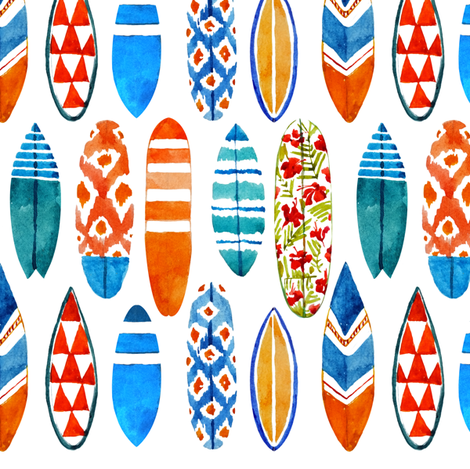 Watercolor surfboards fabric by tasiania on Spoonflower - custom fabric