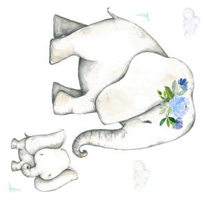 "54""x36"" Floral Blue Elephant / NO FLORALS BABY"